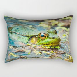 Happy Green Frog, Chilling In The Muck. Photograph Rectangular Pillow