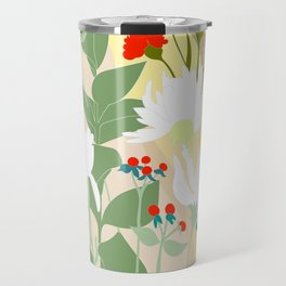 Illustration, modern flowers, bold colors,red, turquoise, white,green. Travel Mug