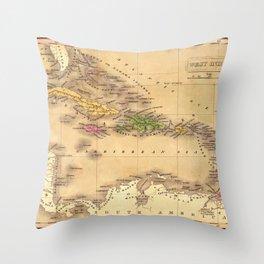 Map Of The Caribbean 1828 Throw Pillow