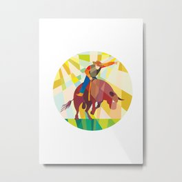 Rodeo Cowboy Bull Riding Pointing Low Polygon Metal Print