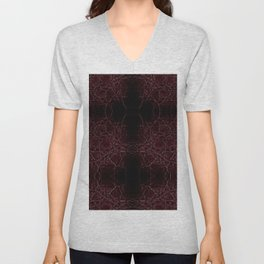 Dark frayed leather texture abstract Unisex V-Neck