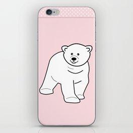 White bear on pink background iPhone Skin