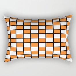 Checkered Outlined Orange and Black Rectangular Pillow