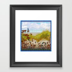 Plaid Beachscape with Dragonflies Framed Art Print