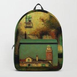 Gondolier à Venise - Venice, Italy landscape painting by Antonie Bouvard Backpack