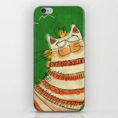 Cat - green iPhone & iPod Skin