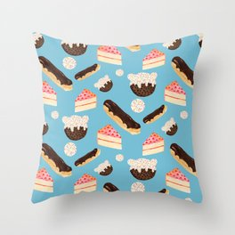 sweet things (on blue) Throw Pillow