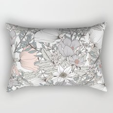 Gray and Pink Floral Pattern Rectangular Pillow
