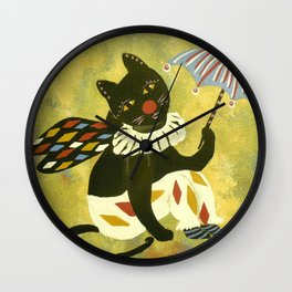Circus Kitty Clowning Around  Wall Clock