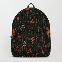 Green, Red-Orange, and Black Floral/Botanical Print Backpack