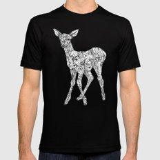 Leafy Deer MEDIUM Black Mens Fitted Tee