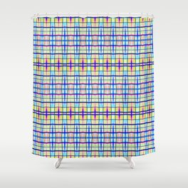 Blue Neon Plaid Shower Curtain