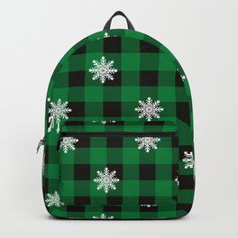 Christmas Plaid Snowflake With Star Design Buffalo Plaid Winter Xmas Pattern (green and black) Backpack