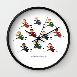 Ten Lords-a-leaping Wall Clock