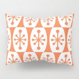 Mid Century Modern Atomic Fusion Pattern Orange Pillow Sham