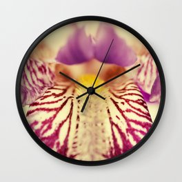 Antiqued Purple Iris Flower Botanical / Nature / Floral Photograph Wall Clock