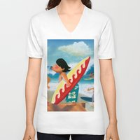 surfer V-neck T-shirts featuring Surfer by colortown