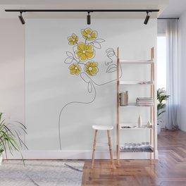 Mustard Bloom Girl Wall Mural
