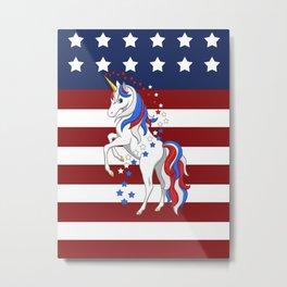 American Flag Stars and Stripes Unicorn Metal Print