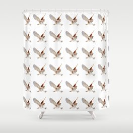 Barn Owl Watercolor Flying Bird of Prey Shower Curtain