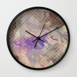 Art Deco Mermaid Scales - Watercolor Koi Fish Wall Clock