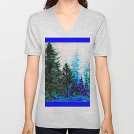 BLUE MOUNTAIN  PINE FOREST LANDSCAPE Unisex V-Neck