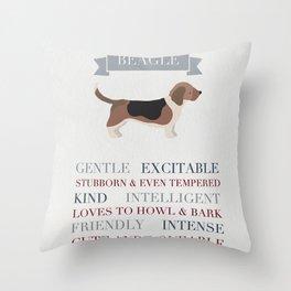 Beagle Breed Print Throw Pillow