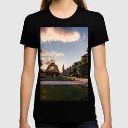 Digital Illustration of Sunset over the Rosenborg Castle in Copenhagen, Denmark T-shirt