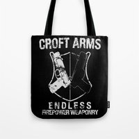 lara croft Tote Bags featuring Croft Arms by JohnLucke