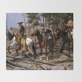 """Frederic Remington Western Art """"Prospecting for Cattle Range"""" Throw Blanket"""