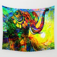 """shiva Wall Tapestries featuring """" The old elephant knows where to find some water. """" by shiva camille"""