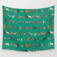 spice Wall Tapestries featuring peacock green spice deer by Sharon Turner