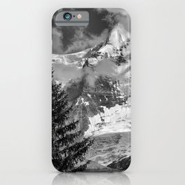 Misty Mountains. Jungfrau. 4.158 Meters. Alps. Swithzerland . BW iPhone Case