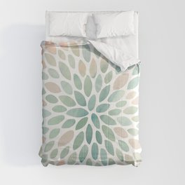Floral Bloom, Abstract Watercolor, Coral, Peach, Green, Floral Prints Comforters