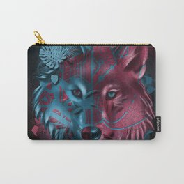 wolf art decor black Carry-All Pouch