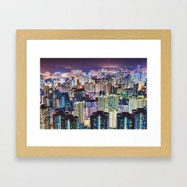Kam Shan Country Park City-scape, Hong Kong nighttime portrait #1 Framed Art Print