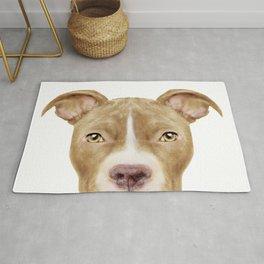 Pit Bull light Brown 2,Dog illustration original painting print Rug