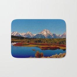 Grand Tetons of Wyoming in Autumn Bath Mat