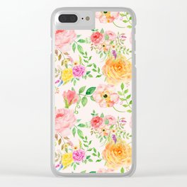 Watercolor Peach Rose Pattern Clear iPhone Case