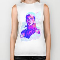 blade runner Biker Tanks featuring RICK DECKARD // BLADE RUNNER by mergedvisible