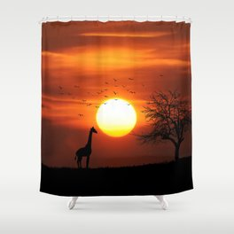 Giraffe sundown Shower Curtain