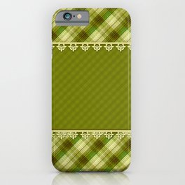 Olive plaid, plaid blanket, olive pattern, patchwork #folklore #rustic iPhone Case