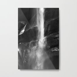Yosemite National Park - Vernal Falls Black and White Metal Print