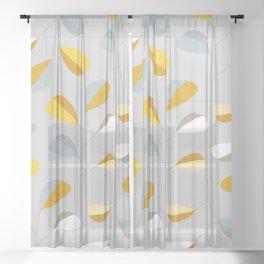 Mid Century Modern Graphic Leaves Pattern 2. Pastel Grey Sheer Curtain