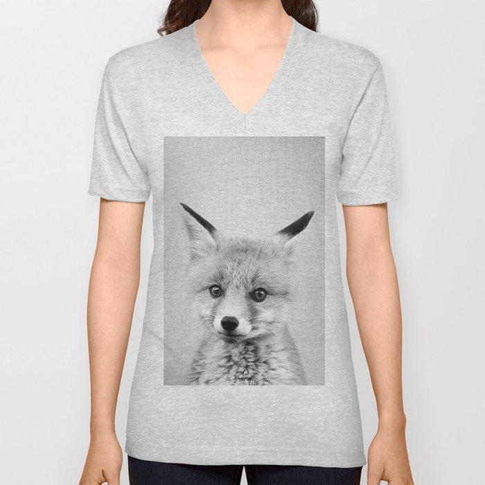 Baby Fox - Black & White Unisex V-Neck