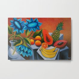 Cuban fruits with blue flowers. Cuban art by Miguez Metal Print