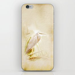 Antique style blue heron on textured background iPhone Skin