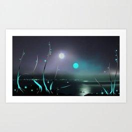 Mirror flowers on the Moon Vega binary star system Art Print