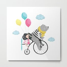Cute bear and little girl in the sky with bicycle. Metal Print