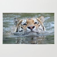 swimming Area & Throw Rugs featuring Swimming tiger by jamfoto